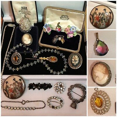 Job Lot Vintage Antique Jewellery Cameo, Bone China, Silver, Chinese Brooches AF