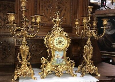 ANTIQUE FRENCH GILDED BRONZE SET MANTEL CLOCK with CANDELABRAS MARQUE DEPOSEE