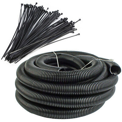 "100 Ft 1"" Split Wire Loom Tubing - 100 Pcs 7"" Nylon Zip Ties Combo (Black)"