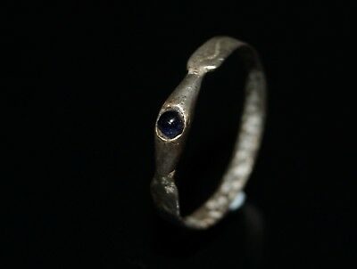 Lovely 13th C. Medieval Silver Plated Decorated Sapphire Stirrup Ring.