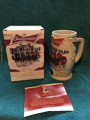 2014 Budweiser Holiday Lane Stein  Limted Edition WITH BOX & COA - NEW