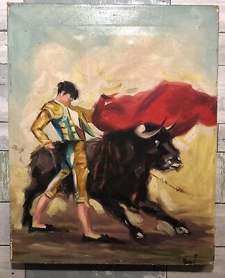 Vintage Mid Century Original Oil Painting On Canvas of a Matador & Bull Signed