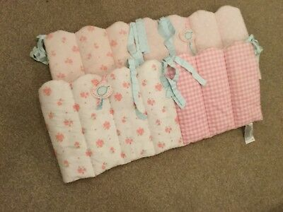 Mothercare pink rose cot bumpers x2