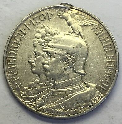 1901-A German State Kingdom Of Prussia 5 Mark - .900 Silver Coin  - Love Token!