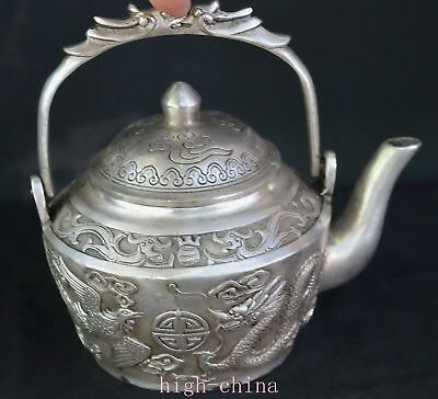 Collection Chinese Ancient Miao Silver Carve Tibet Dragon Phoenix Old Tea Pot