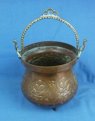 Vintage Copper Cauldron Type Planter Jardinaire Brass Hanging Handle and 3 Feet