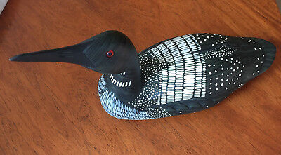 """James Haddon Signed Hand-Carved Wood Decoy of a """"Loon"""" ~14"""" Long"""