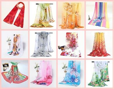 US SELLER-20 chiffon scarves wholesale fashion shawl bulk silky soft