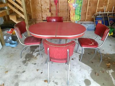 Atomic MCM 1950s Formica & Chrome Kitchen Table w/ 4 Chairs & Extension Insert