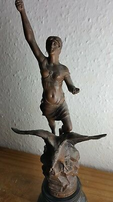 Antique Patinated Spelter Figure of  Woman astride an eagle - LA NUIT French