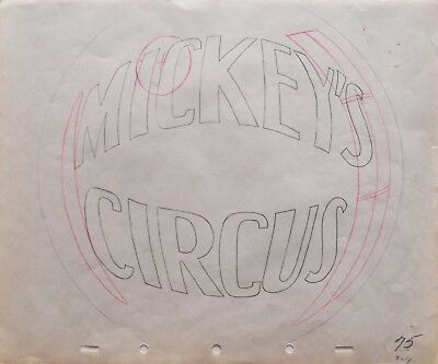 Original title card production drawing, Mickey's Circus, 1936, RARE!, Disney