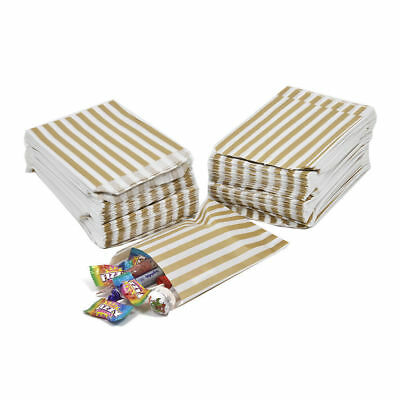 """1000x Gold Candy Stripe Sweet Paper Bags Wedding Party Gift Paper Bags - 5"""" x 7"""""""