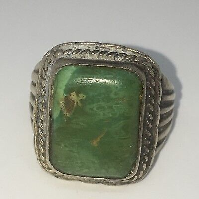 OLD PAWN NAVAJO STERLING SILVER MEN'S SQUARE INGOT GREEN TURQUOISE RING sz 9