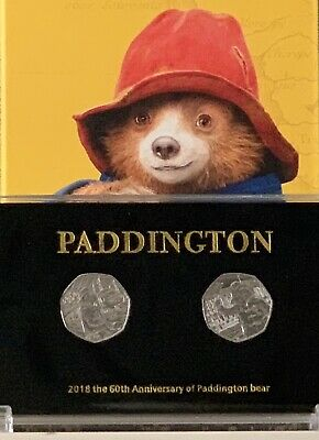 2018 Pair Paddington 50p Coin UNC In Display Case the Station & Palace + Stands