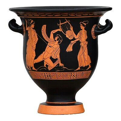 Dionysos Satyr Death of Orpheus Krater Vase Ancient Greek Pottery Museum Copy