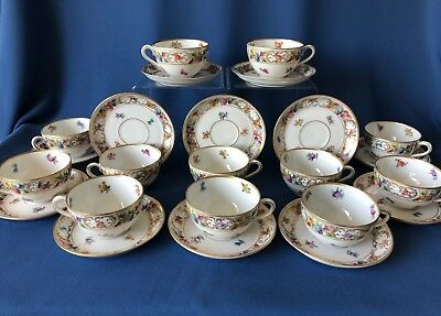 Set of 12 Schumann Dresden flowers small tea cups & saucers - early 1900s