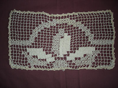 #343  Beautiful Vintage Handmade Filet Doily 14''/7''(35cm/18cm)