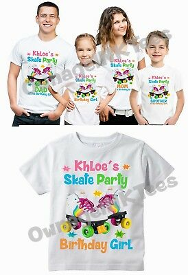 Roller Skate Party Custom T Shirt Personalize Tee Skating Birthday Family