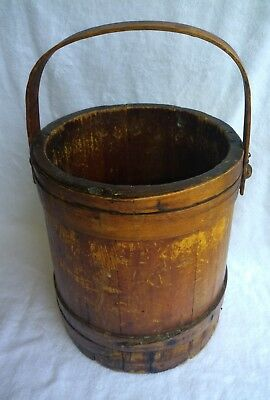 Antique Primitive Amish Made Wooden Bucket Firkin 2 Gallon