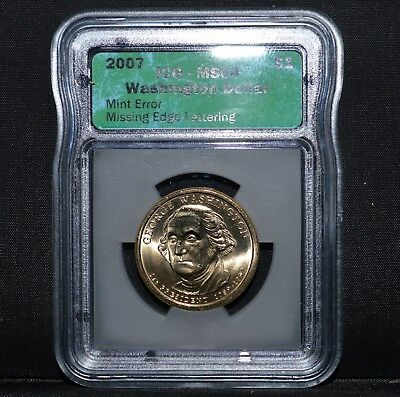 2007-P $1 George Washington Dollar ✪ Missing Edge Lettering ✪ Icg Ms-64◢Trusted◣