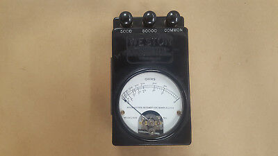 1 Pc. Cv-22196 Model 689 Vintage Weston Ohm Meter & Vintage Holder