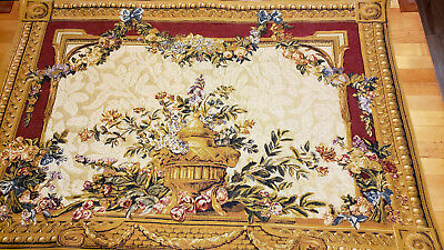 "Vintage French Tapestry Wall Hanging by Beauregard Gilded Urn Gold Blue 28""x41"""