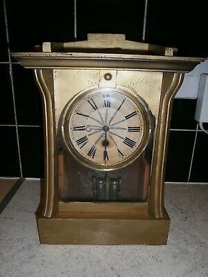 H.A.C. Antique German Wooden Mantel Clock Painted Gold