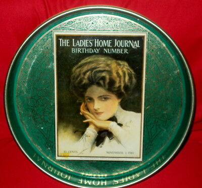"Decorative Metal Round Tray Of The ""Ladies Home Journal Birthday Number"""