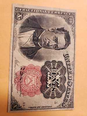 Rare USA FRACTIONAL CURRENCY FROM 10 Cents 1874 , Red seal , P122 , aFine