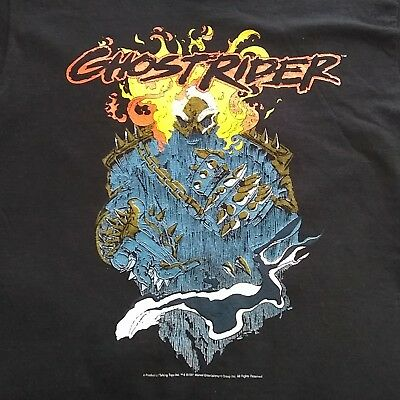 Vintage 1991 NOS Ghost Rider T-Shirt White Large Rare Marvel Black Flames