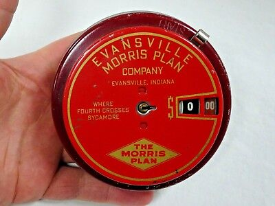 Vintage Red Add O Bank Evansville Morris Plan Company Indiana Coin Bank