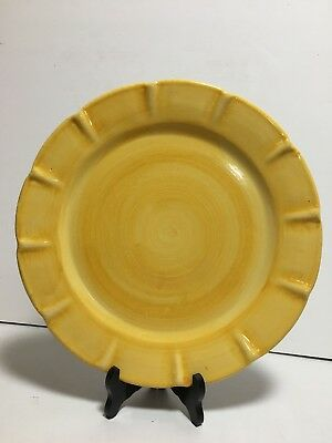Solimene Vietri Yellow Scalloped Chop Dinner Plate Italy 12-5/8""