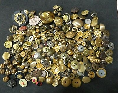 HUGH Lg LOT BRASS Gold Buttons ANTIQUE & VINTAGE Small to Lg Size ART COLLECT