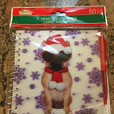 Christmas French bulldog Frenchy 3D Memo Book With Pen Journal Spiral Notepad