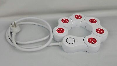 6 Outlet Flexible Power Surge Protector Power Strip Quirky Pivot WHITE & RED
