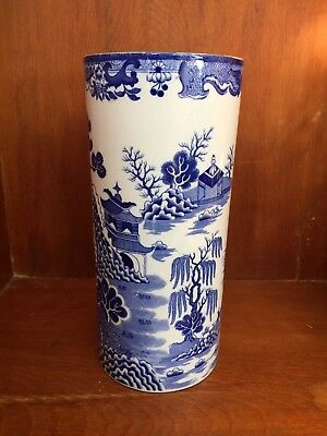 """Tall Blue Willow Mason's Cylinder Vase 10-3/8"""" Made In England"""