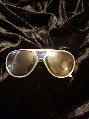 Vintage 1970's Polaroid Cool Ray 430 Sunglasses Elvis Silver Chrome Red Blue