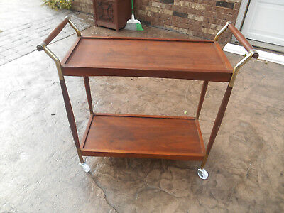 Vintage Mid-Century Danish Modern Walnut / Teak  Bar / Tea Cart Server