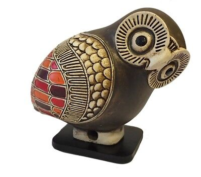 Owl Miniature Figurine Ancient Greek Color Painted Owl Museum Replica Statue 2H