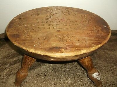 ANTIQUE primitive WOODEN ✿  4 LEGGED MILKING STOOL ✿ chair  with POEM