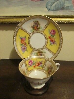 Schumann Bavaria Germany Dresden Flowers Scene Tea Cup And Saucer Roses Gold