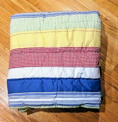 """Pottery Barn Kids Toddler Unisex Reversible Quilt Size 36"""" x 50"""" with Sham"""
