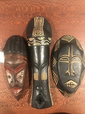 hand carved wooden African tribal mask decorative wall art