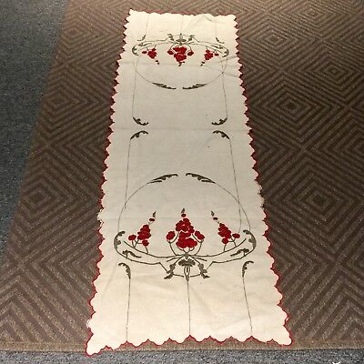 Antique Stickley Era Arts & Crafts  Hand Embroidered Table Runner Oatmeal C 1915