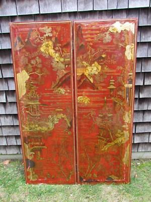 *RARE & VERY UNUSUAL*  ANTIQUE signed CHINESE JAPANESE GILT 2 PANEL RED SCREEN