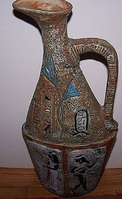 Vintage Egyptian Style Calligraphy Clay Pottery Empty Italy Wine Bottle Urn