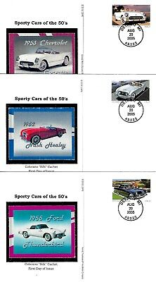 Sporty Cars of the 50's 5 Diff Colorano Silk FD Cards #UX440-44  B608
