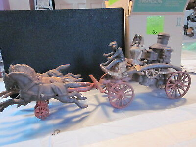 Vintage Cast Iron Horse Drawn Fire Carriage