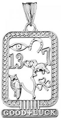 Fine Sterling Silver Ancient Egyptian Good Luck Cartouche Pendant