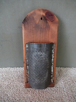 "Antique Grater Old Tin Wood Vintage Primitive Kitchen 14"" L x 6"" W, Handcrafted"